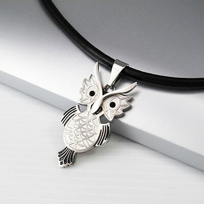 Silver Stainless Steel Wizard Of Owl Pendant Black Leather Tribal Necklace