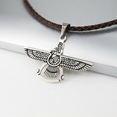 Silver Black Flying Eagle Pendant 3mm 45cm Brown Braided Leather Tribal Necklace