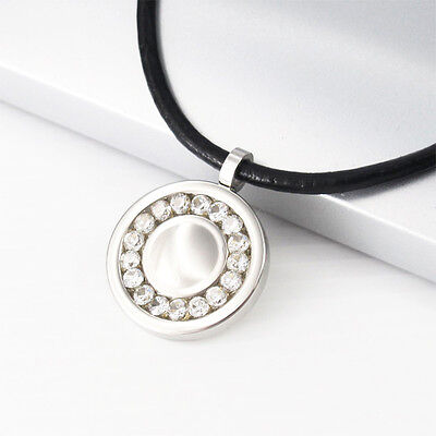 """Silver Stainless Steel Round Crystal Pendant 17"""" Black Leather Necklace Choker"""