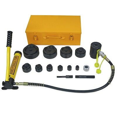 """15 Ton Driver Hydraulic Tool Kit 10 Dies 1/2"""" to 4"""" Knockout Punch Set with Case"""