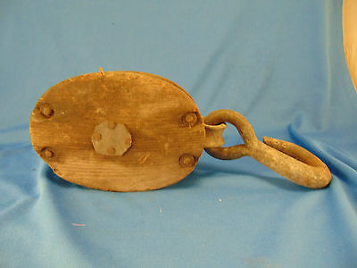 old block tackle rope pulley wood metal farm barn garage workshop industrial vtg