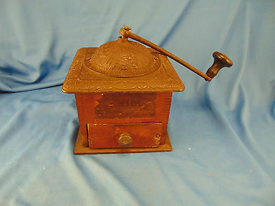 Antique coffee beans grinder wood and copper parts ornate top birds embossed art