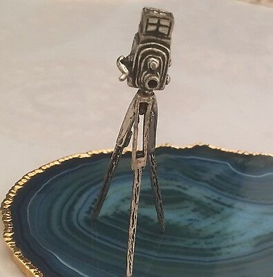 STUNNING Antique Sterling Silver Miniature CAMERA ON TRIPOD Dollhouse ITALY-L085