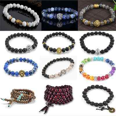 New Charm Men's Women's Lion Head Beaded Yogo Stretch Buddha Lucky Bracelet Gift