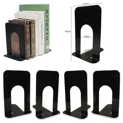 """2 Pairs 8"""" Heavy Duty Metal Bookends Book Ends Home & School Office Stationery"""