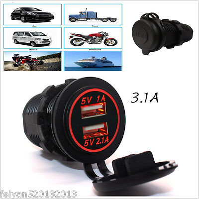 2 Ports USB Charger Universal Power Adapter For Car Boat Truck With Red LED Ring
