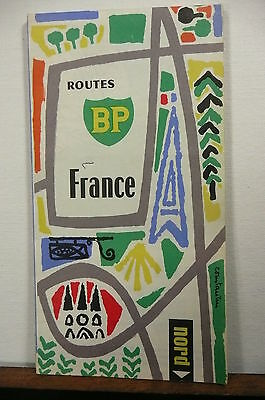 1960's? France  road  map BP  gas oil guide 4 languages