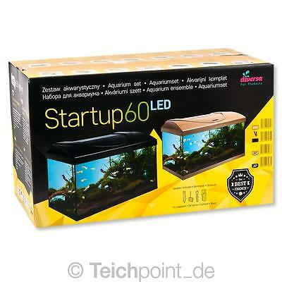 Diversa Aquarium StartUp Set 60 LED, Glasbecken komplett Aquariumset Nano