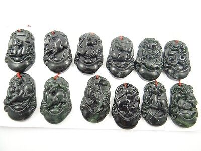 100% China black green jade hand-carved the statue of 12 Small Zodiac PENDANT