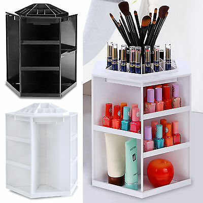 Rotating Cosmetic Organizer White Plastic Makeup Storage Box Spinning Display