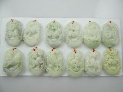 100% China Liantian jade hand-carved the statue of 12 Small Zodiac PENDANT B3