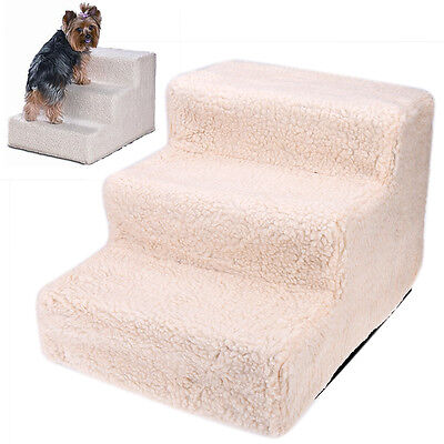 Pet Stairs for Small Dogs Cats Beige Carpeted Bed Couch Safety Pet Ladder Steps