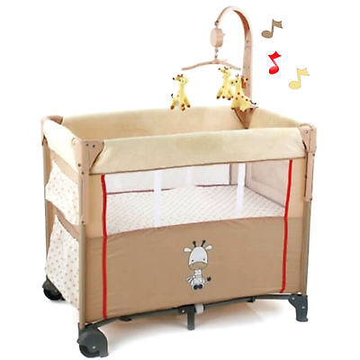 New Hauck Dream N Care Center Bassinette Travel Cot Giraffe With Drop Side