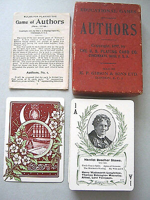 Playing Cards Antique Uspcc Gibson Games Authors Complete Rules Shelley Keats