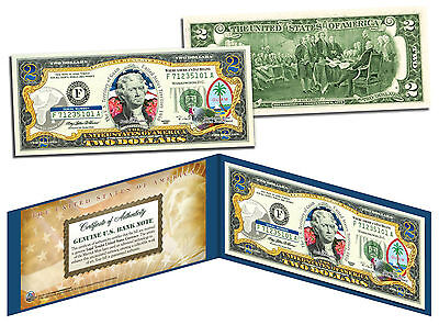GUAM Statehood $2 Two-Dollar Colorized U.S. Bill - Genuine Legal Tender Currency