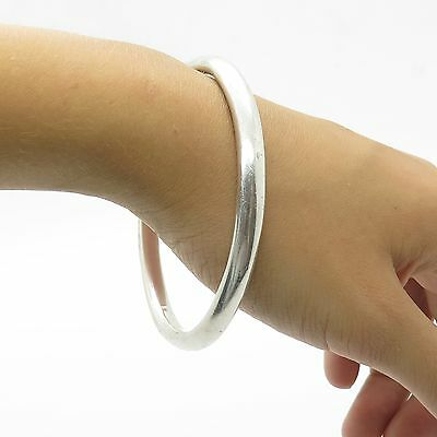 """Mexico Sterling Silver Large Classic Plain Smooth Hollow Bangle Bracelet 8"""""""