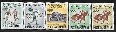 Afghanistan 1962 Sport Olympic Horse Sc # 599-603 Mvvlh