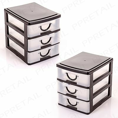 2 x STORAGE CHESTS - 3 TRAYS Desk/Office/Craft/Small/Rack/Plastic/Drawer/Set