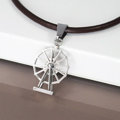 """Silver Stainless Steel Windmill Charm Pendant 18"""" Dark Brown Leather Necklace"""