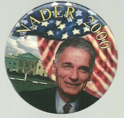 Ralph Nader Colorful Third Party 2000 Political Campaign Pin