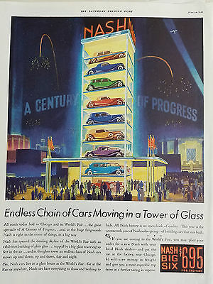 1933 Nash Big Six Car Endless Moving in Tower of Glass Original Color Ad