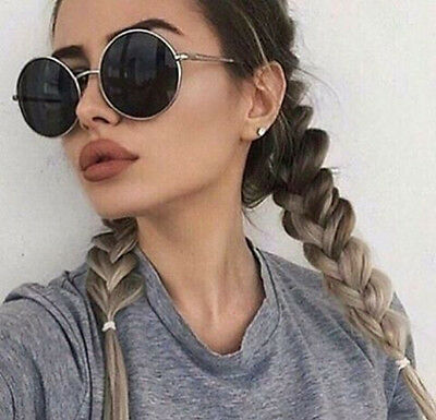 Women Oversized Sunglasses Silver Round Designer Vintage Fashion Black Lens