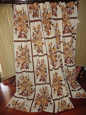Vintage Pinch Pleated Retro Brown Amber Tan Big Floral Drapery Panels 35 X 80