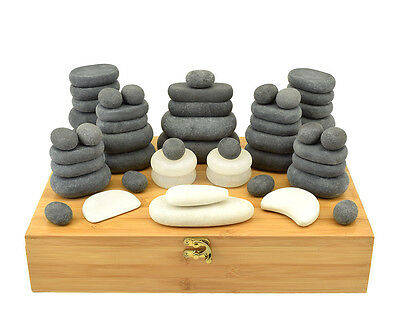 MassageMaster Hot/Cold Stone Massage Set: 51 Basalt/Marble Stones in Bamboo Box