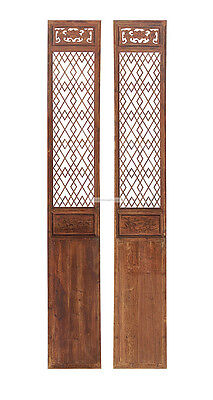 Pair of Vintage Chinese Tall Wood Panel Screens y598