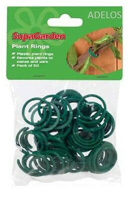 50 x GARDEN PLANT RING CLIPS Cane Climber Support Fixing/Training Ties UK SELLER