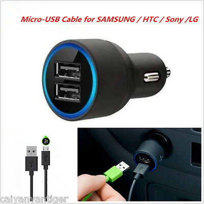Car Dual Port USB Charger+Cable With Blue Ring For Samsung HTC SONY & LG Android