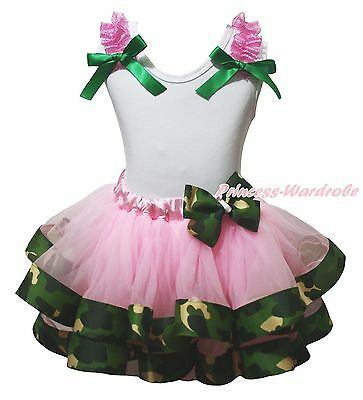 Cotton White Top Light Pink Camo Camouflage Satin Trim Girls Skirt Outfit NB-8Y