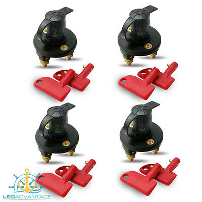 4 X 12V/24V Marine Caravan Truck Boat 4Wd Battery Isolator Switch & 2 Keys