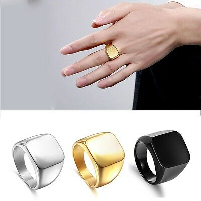 316L Men's High Polished Signet Solid Stainless Steel Biker Ring Jewelry Gift