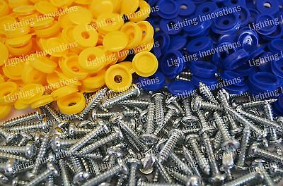 500 x NUMBER PLATE CAR FIXING FITTING KIT HINGE CAP SCREWS BLUE YELLOW CAPS