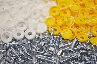 500 x NUMBER PLATE CAR FIXING FITTING KIT HINGE CAP SCREWS YELLOW WHITE CAPS