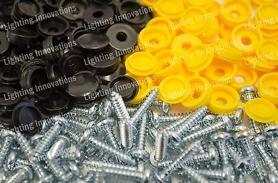 500 x NUMBER PLATE CAR FIXING FITTING KIT HINGE CAP SCREWS BLACK YELLOW CAPS