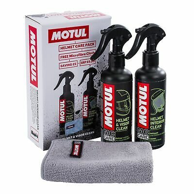 Motul Bike/Motorcycle Crash Helmet/Lid/Visor Cleaning/Cleaner Care Pack/Kit