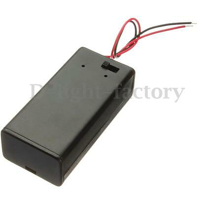 1/ 2/ 10x 9V Battery Holder Box Case Cover With ON/OFF Power Toggle With Wires