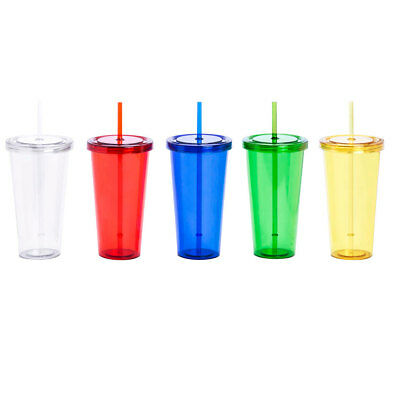 680 ml Insulated Plastic Cup with Lid and Straw Smoothie Tumbler BPA Free Juice