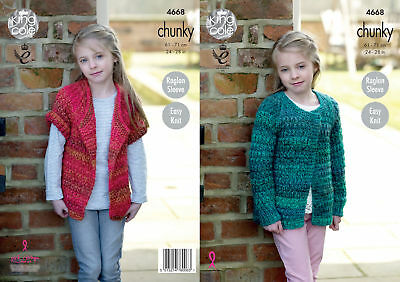 Easy Knit Girls Raglan Sleeve Cardigans Knitting Pattern King Cole Chunky 4668
