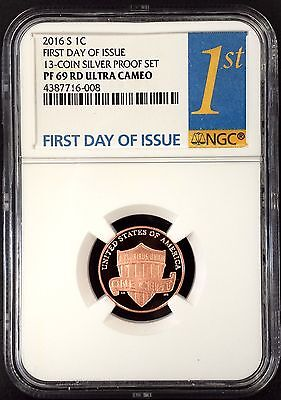 2016 S Proof Lincoln Cent, NGC PF 69 RD Ultra Cameo, First Day of Issue!