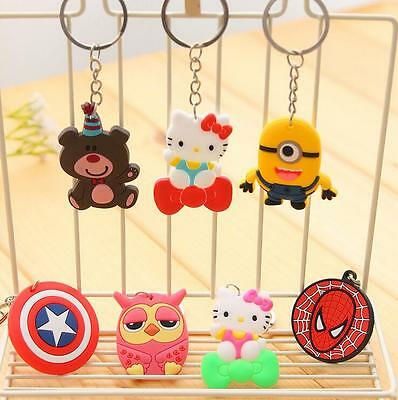 Soft Rubber Minions Cartoon Characters Spider Man Party Gift Key Rings Key Chain