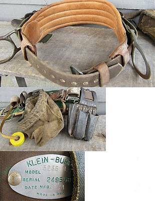 KLEIN BUHRKE 5266N CLIMBERS SAFETY BELT w/ extra sets of straps & acc's