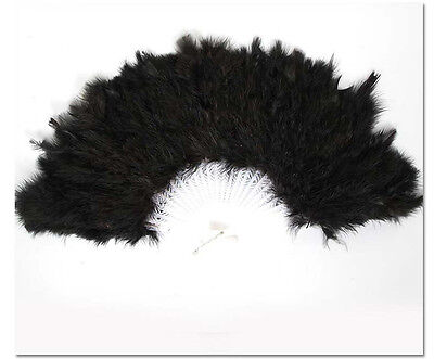 1PCS Halloween Party Dance Black Feather Fan #92823