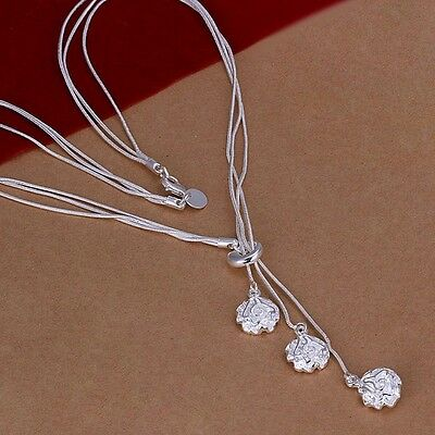 925 Silver plated Fashion Cute Charms Rose pendant Necklace Jewelry women lady