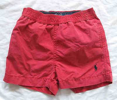 Baby Boys Ralph Lauren Red Swim Shorts - Size 12M - 12 Months With Polo Logo