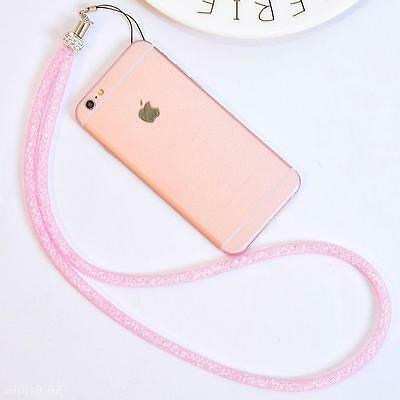 Neck Lanyard Bling Crystal Strap Necklace Badge Cell Phone Keychain Card Holder