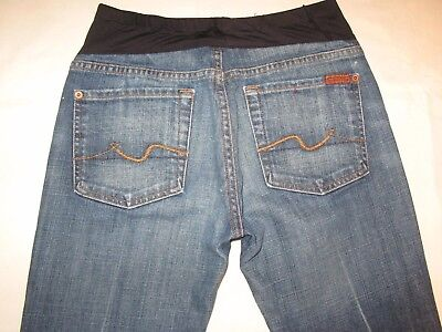 7 for all Mankind Maternity Crop Jeans Distressed Wash Sz 27