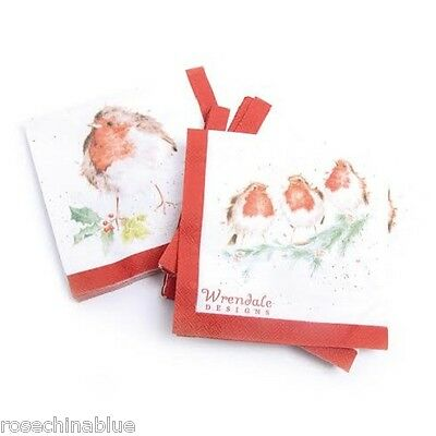 Wrendale Designs Pack Of 20 Christmas Robin Paper Cocktail Napkins NEW
